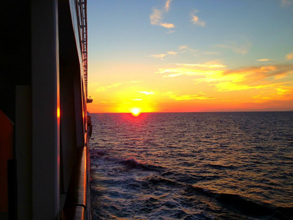 View of sunset from Stateroom veranda