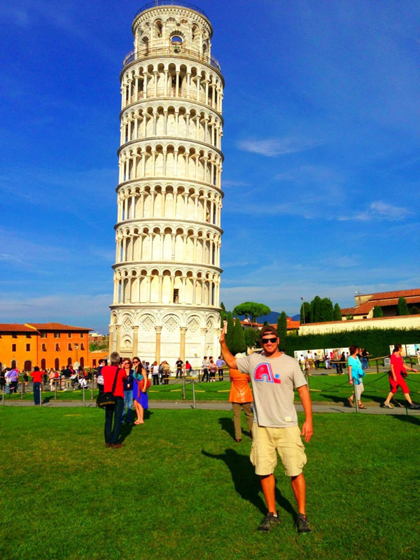 Steve posing with the Leaning Tower of Pisa