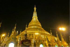 Lee at the Shwedagon Pagoda at night in Yangon, Myanmar