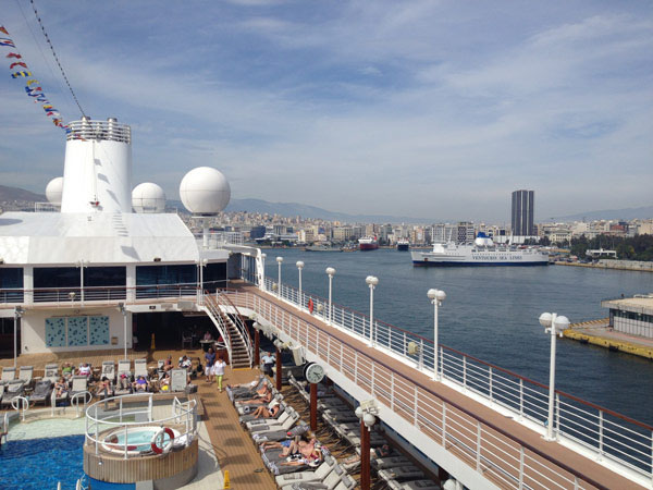 The Azamara Journey sailing out of Piraeus, the nearest port to Athens.