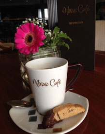 Regular coffee with biscotti