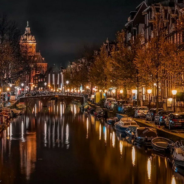 Amsterdam, Netherlands at night.