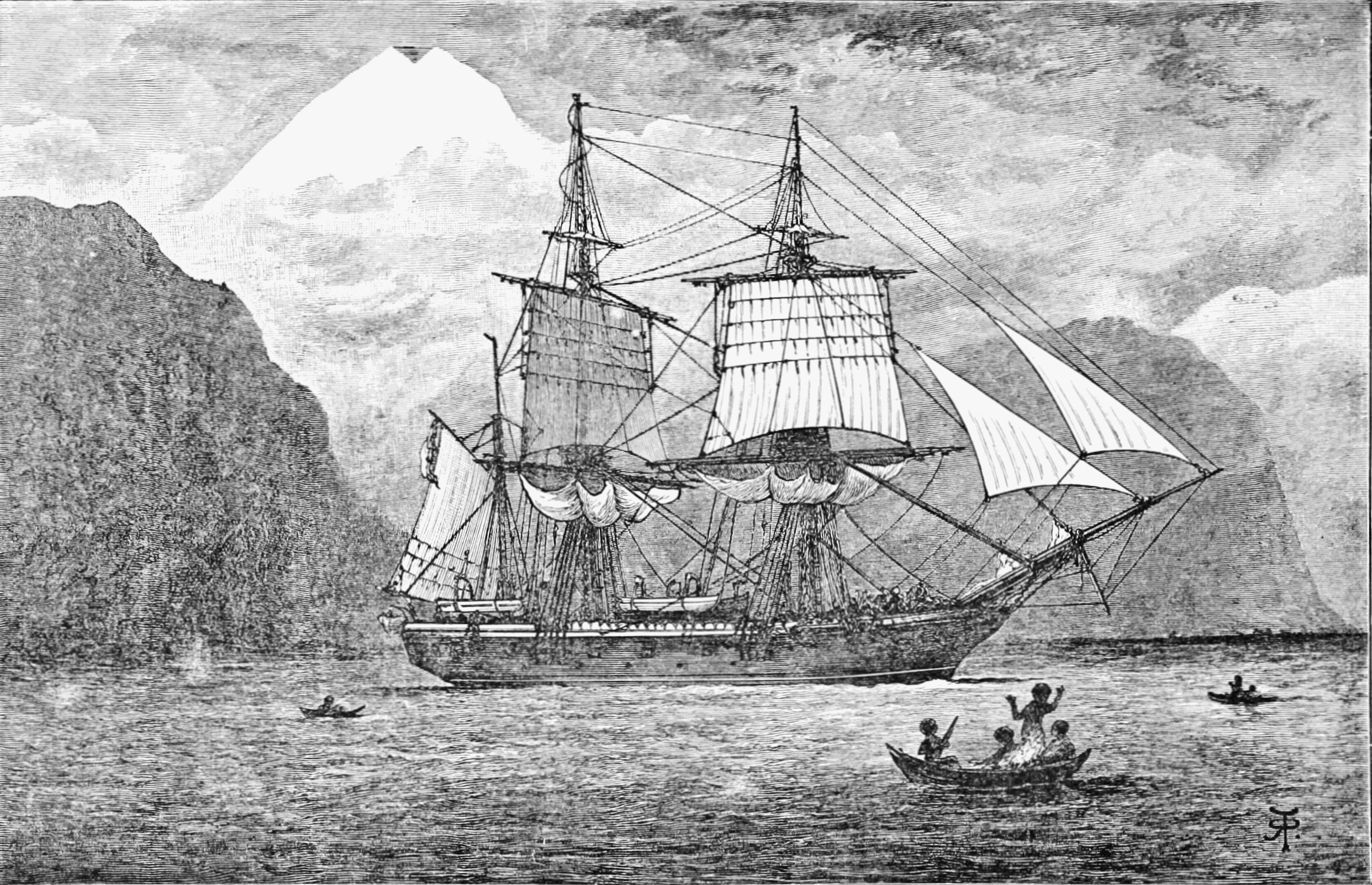 sketch of sailing ship with mountains in darwin australia