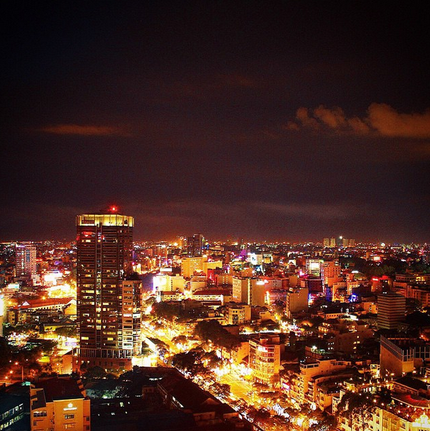 Ho Chi Minh City, Vietnam at night.
