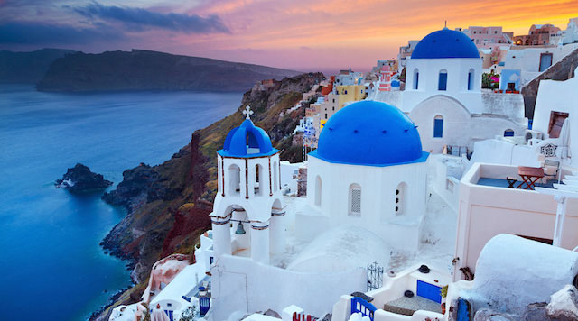 Santorini, Greece at sunset. A romantic #cruise #travel destination!