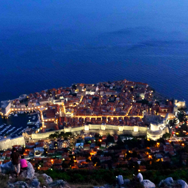 Dubrovnik, Croatia at night.