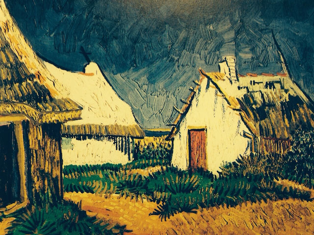 Three Cottages in Saint-Maries, van Gogh 1888
