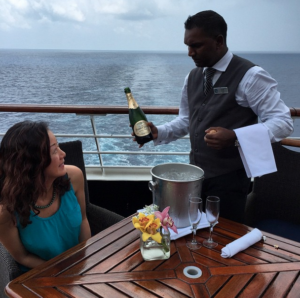 Afternoon bubbly in the Bay of Bengal during a luxury voyage with Azamara Club Cruises.