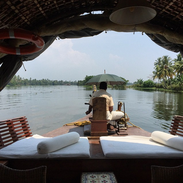 Alappusha River cruising in a traditional houseboat.