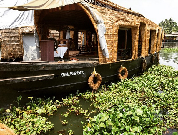 Houseboats in Kerala, India.