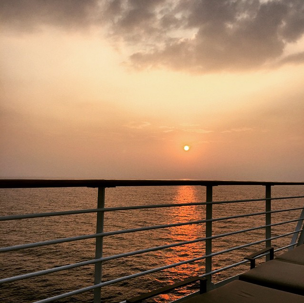 Sunset at sea on the way to Kochi, India with Azamara Club Cruises.