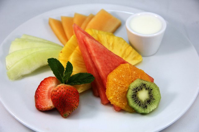 Fresh fruit platter.