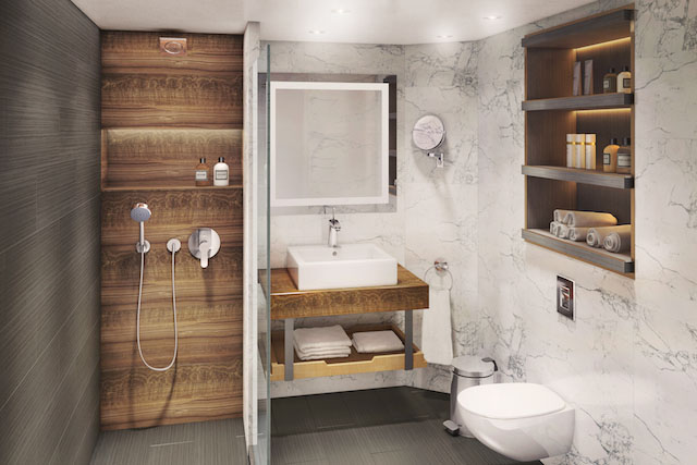 Club Continental Suite Bathroom Rendering