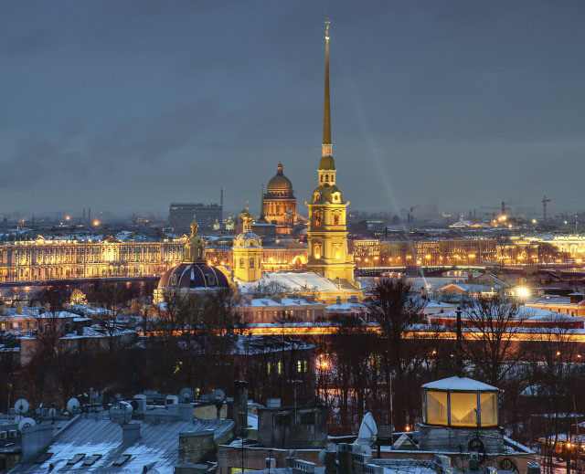 The Russian Federation, St. Petersburg, a top view of the city at night, and the Peter and Paul Fortress.