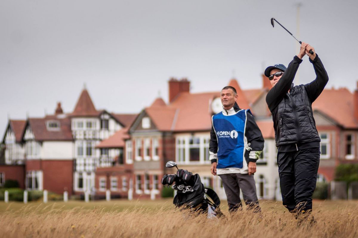 PerryGolf and Azamara guests teeing off at Royal Liverpool during the 2015 Open Championship Golf Cruise
