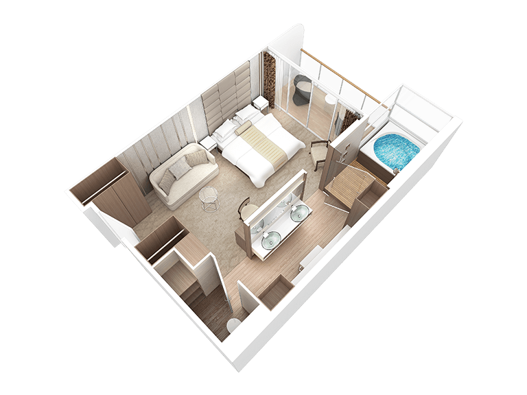 bedroom floor plan illustration of spa suite
