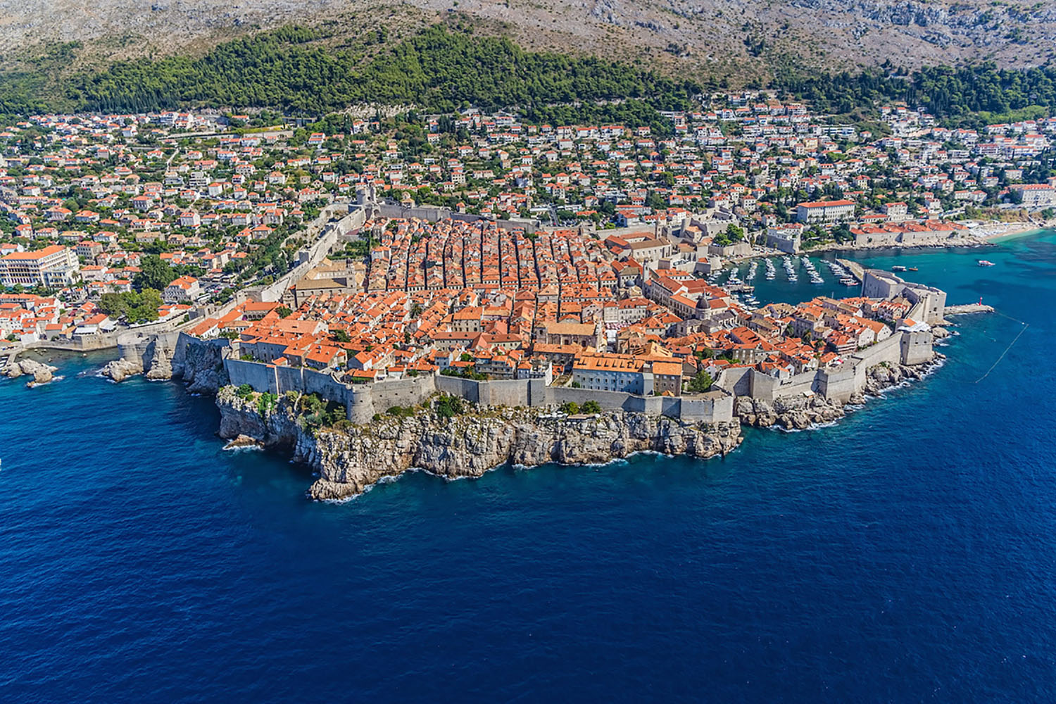 An aerial view of Dubrovnik, Croatia.