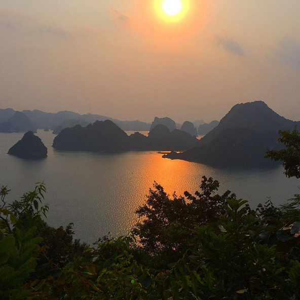 Halong Bay, Vietnam at sunset.