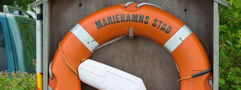 A life preserver at the Aland Maritime Museum in Mariehamn, Finland