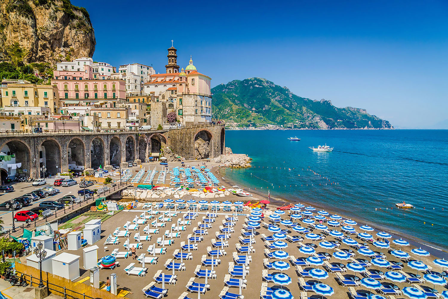 After Sorrento, Amalfi is the largest town along the Coast. It's a picturesque town with a pebble beach, trendy restaurants, and a striking cathedral.