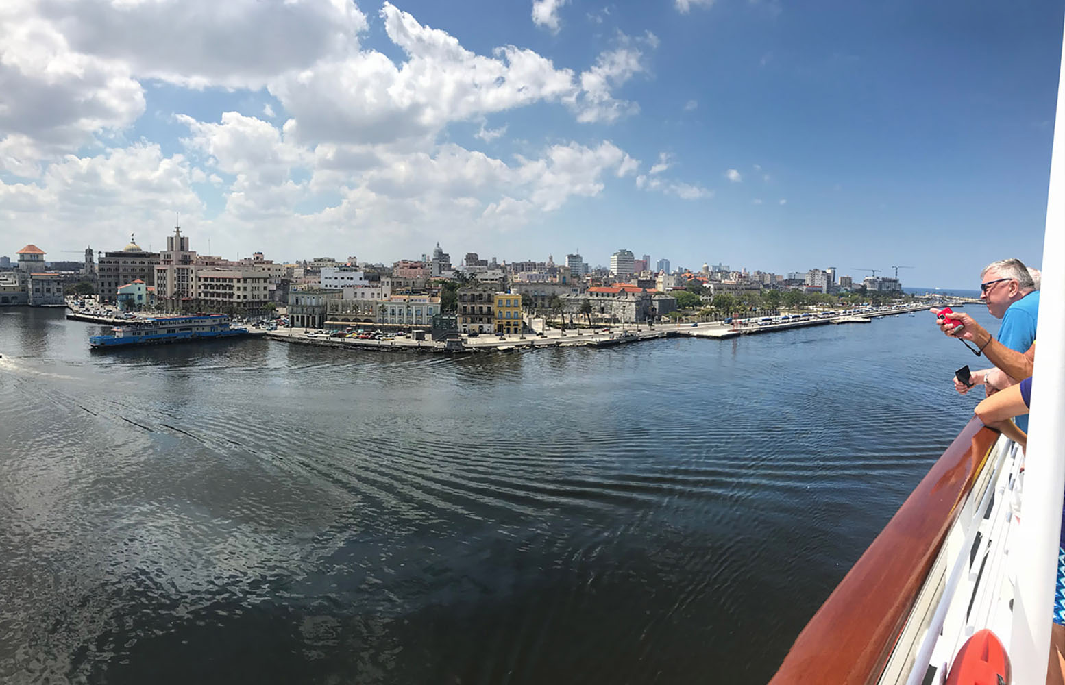 Arriving in Havana by ship.