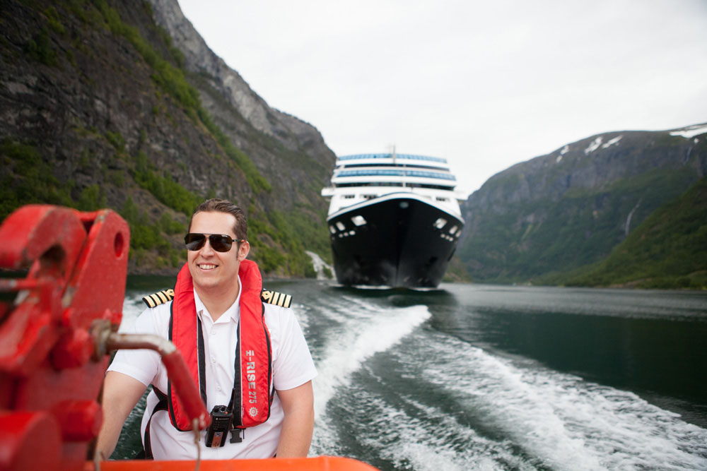Cruising fjords in Norway.