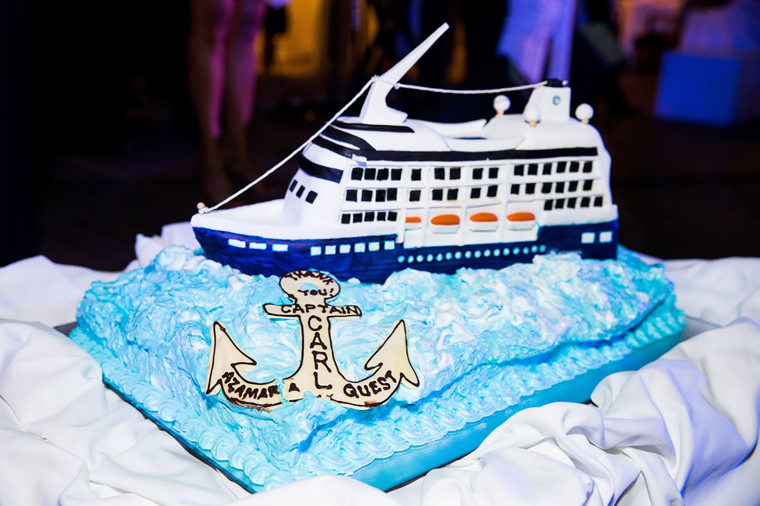 A special Azamara cruise ship cake for Captain Carl.