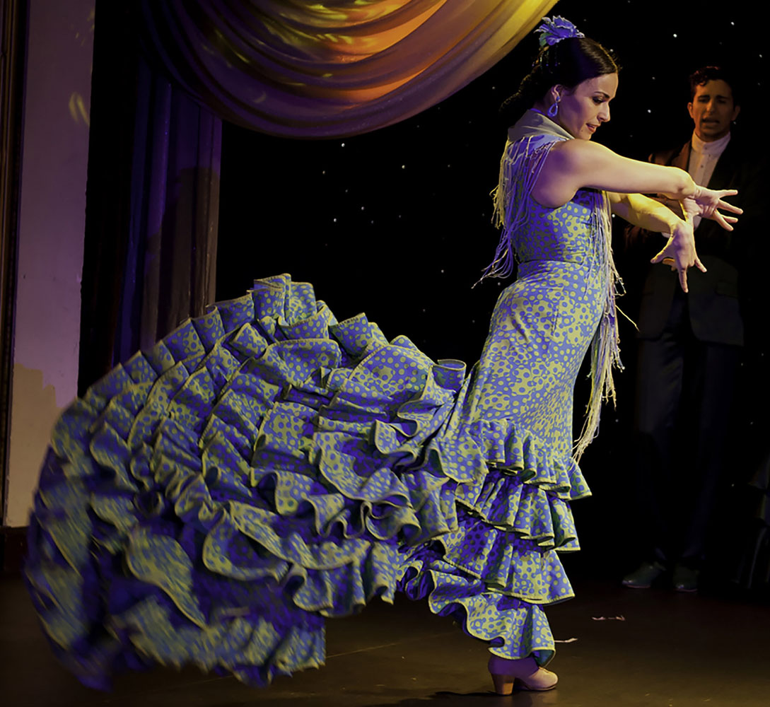When calling on the Andalusian city of Seville, seek out a flamenco performance at a local tablao, the term for a place where Flamenco is performed.