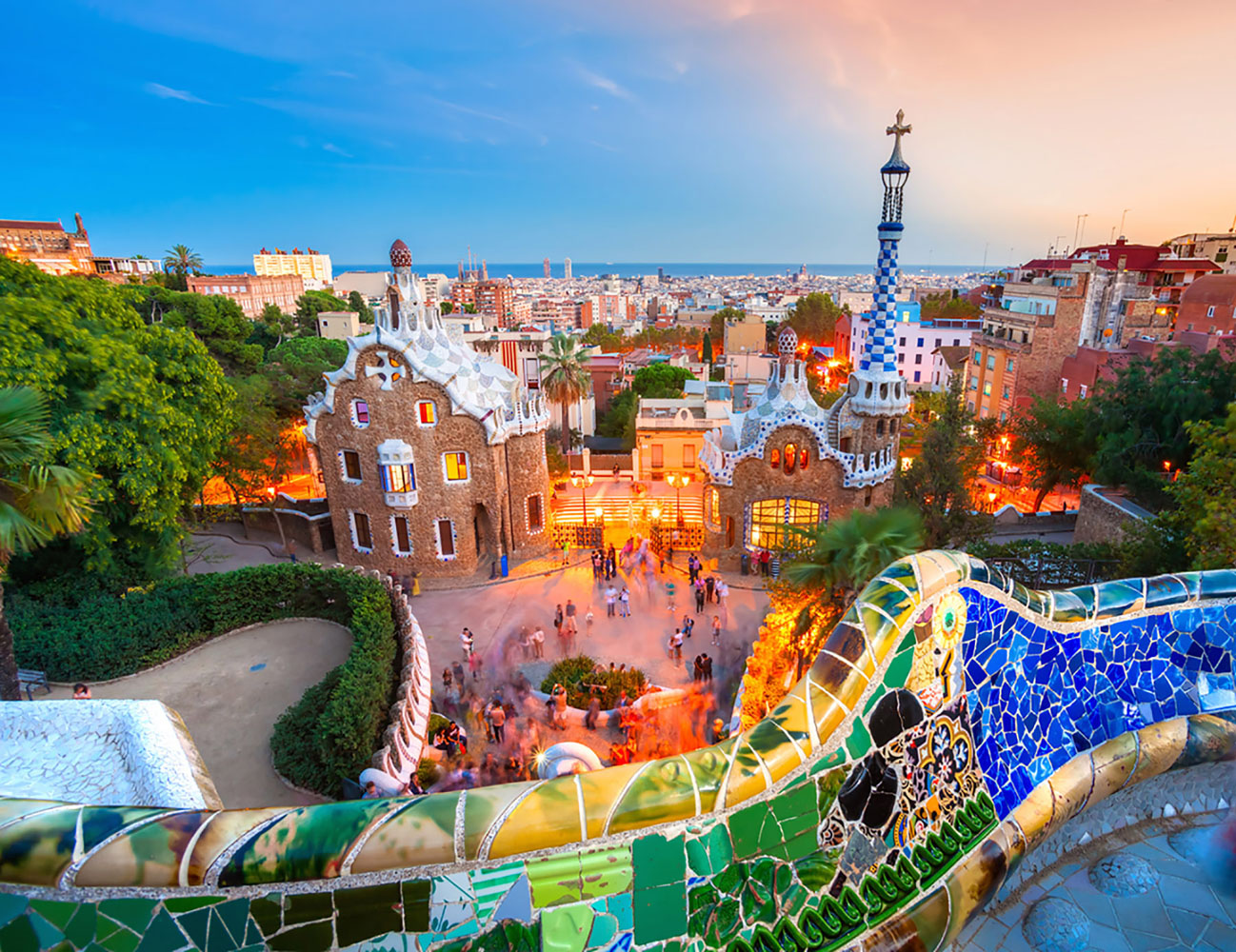 Parc Guell in Barcelona, Spain, at sunset.