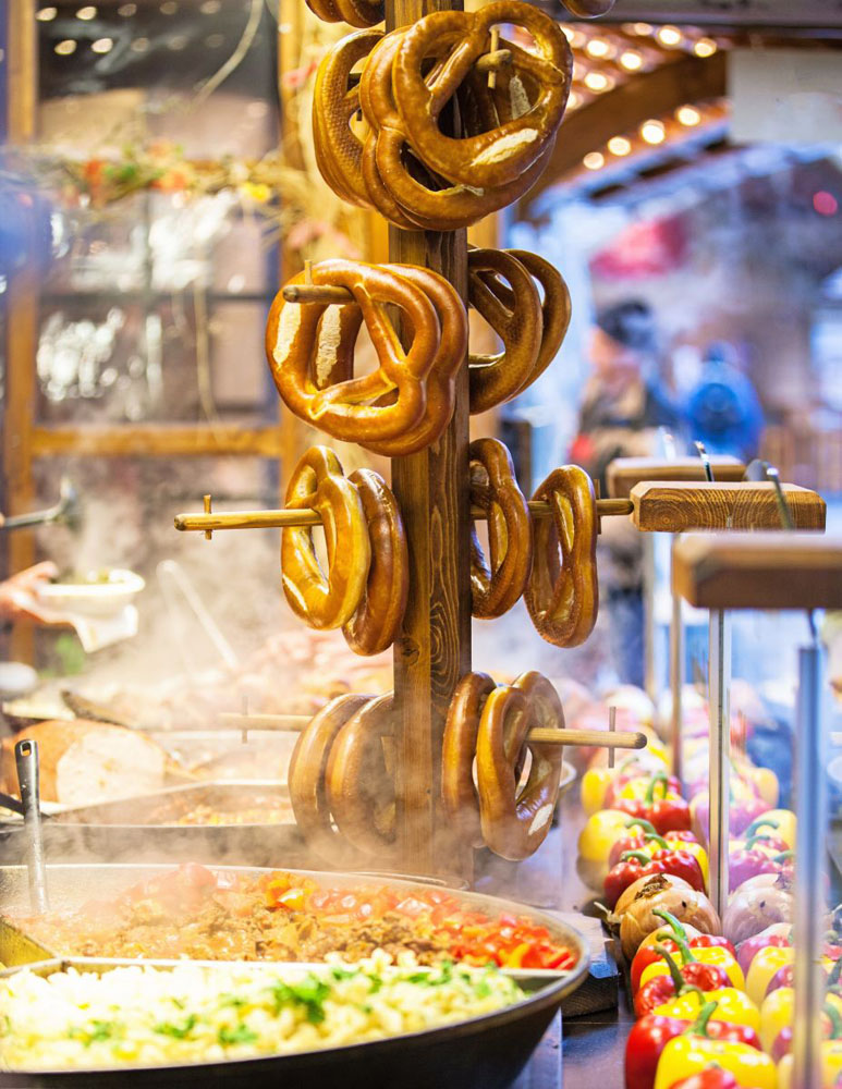 German pretzels, an iconic street food