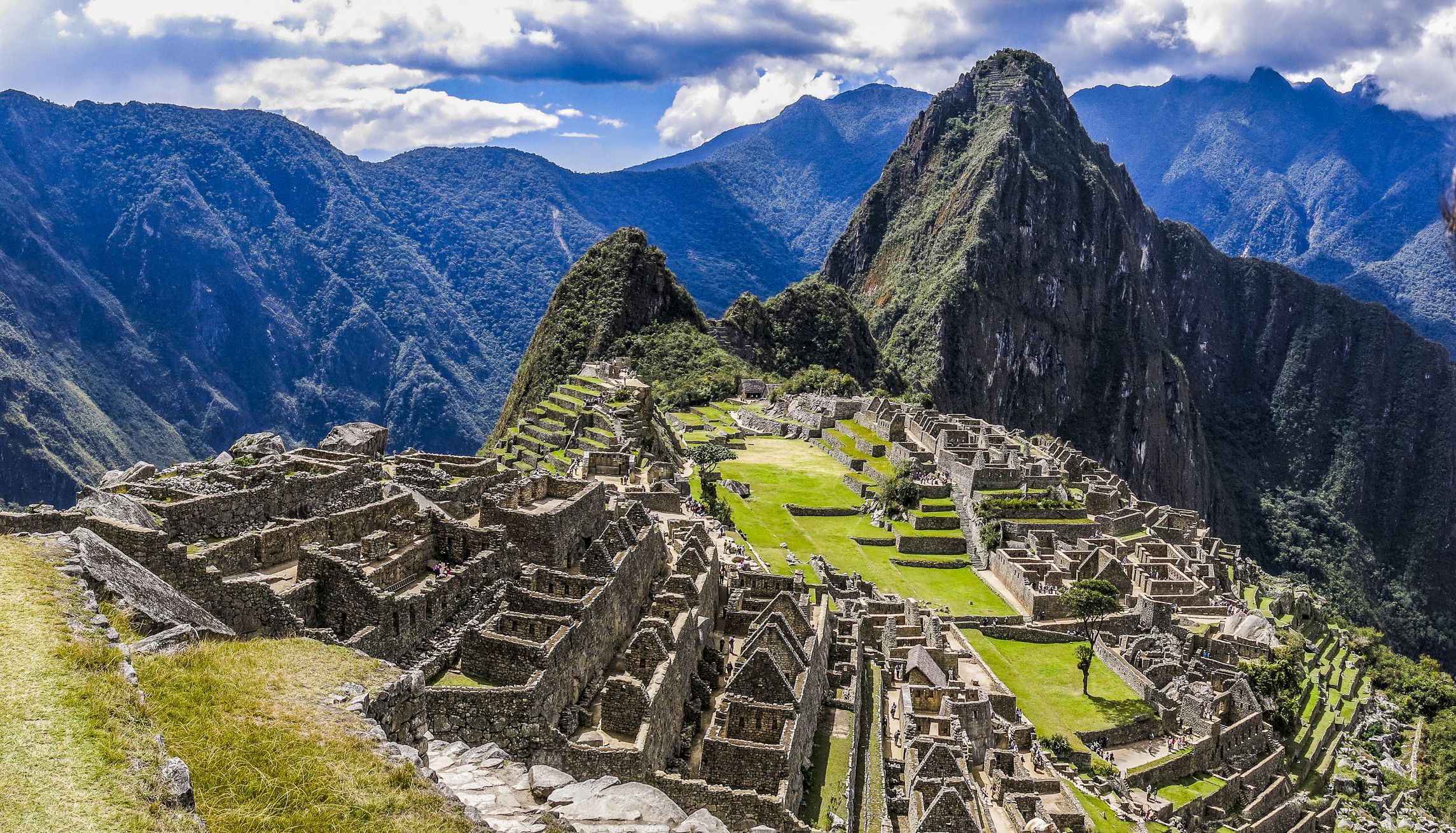 The archeological site of Machu Picchu with mountains in the background