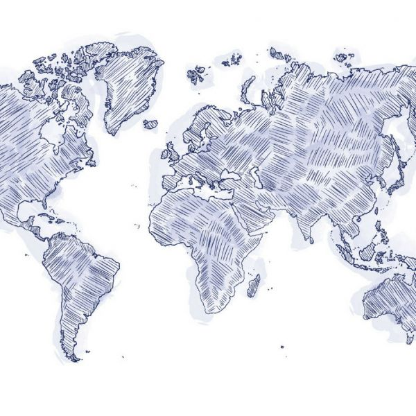 A sketch of a world map.