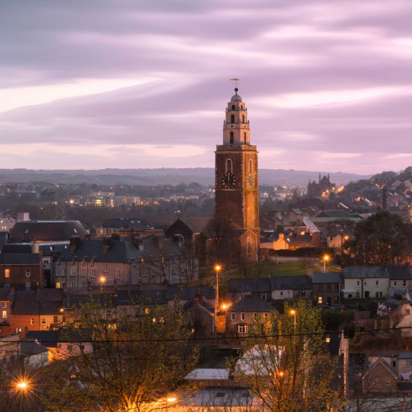 The skyline of Cork, Ireland.