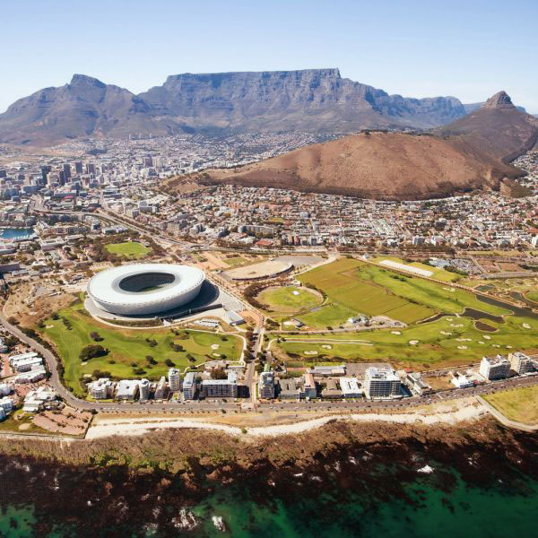 An aerial photo of Cape Town, South Africa.