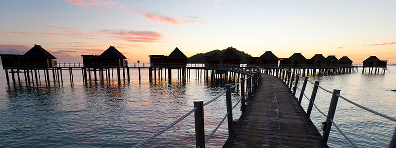 Bloody Mary's boardwalk at sunset in Bora Bora, French Polynesia