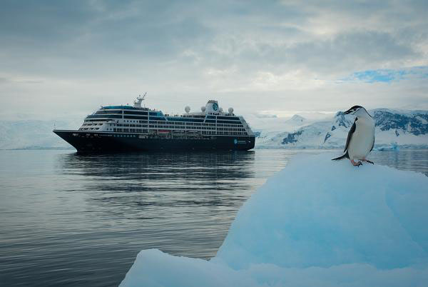 A penguin perches on an iceberg with the Azamara Quest cruise ship in the background in Antarctica.