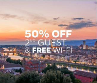 50% Off Second Guest & Free Wi-Fi