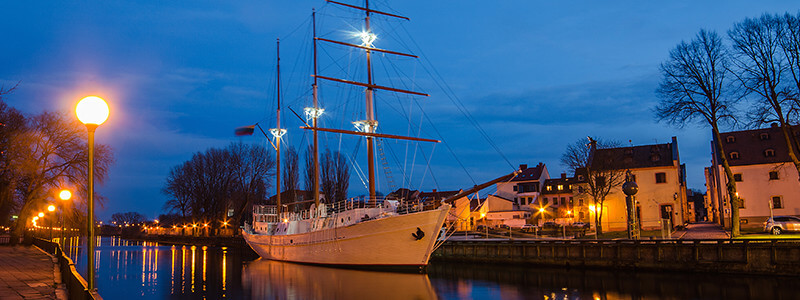 white sail boat in Klaipeda Lithuania
