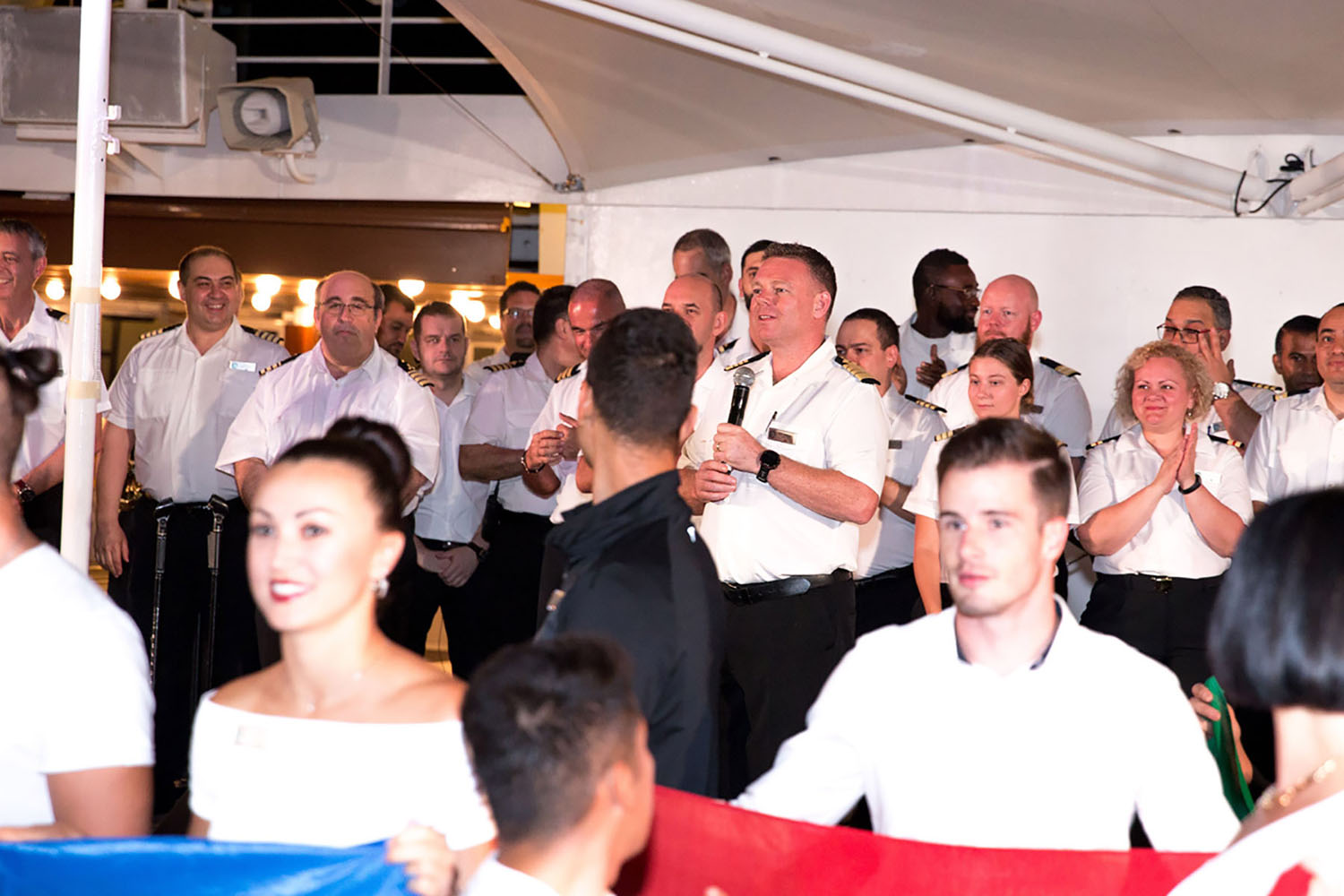 Captain Carl makes his final speech onboard the Azamara Quest cruise ship.