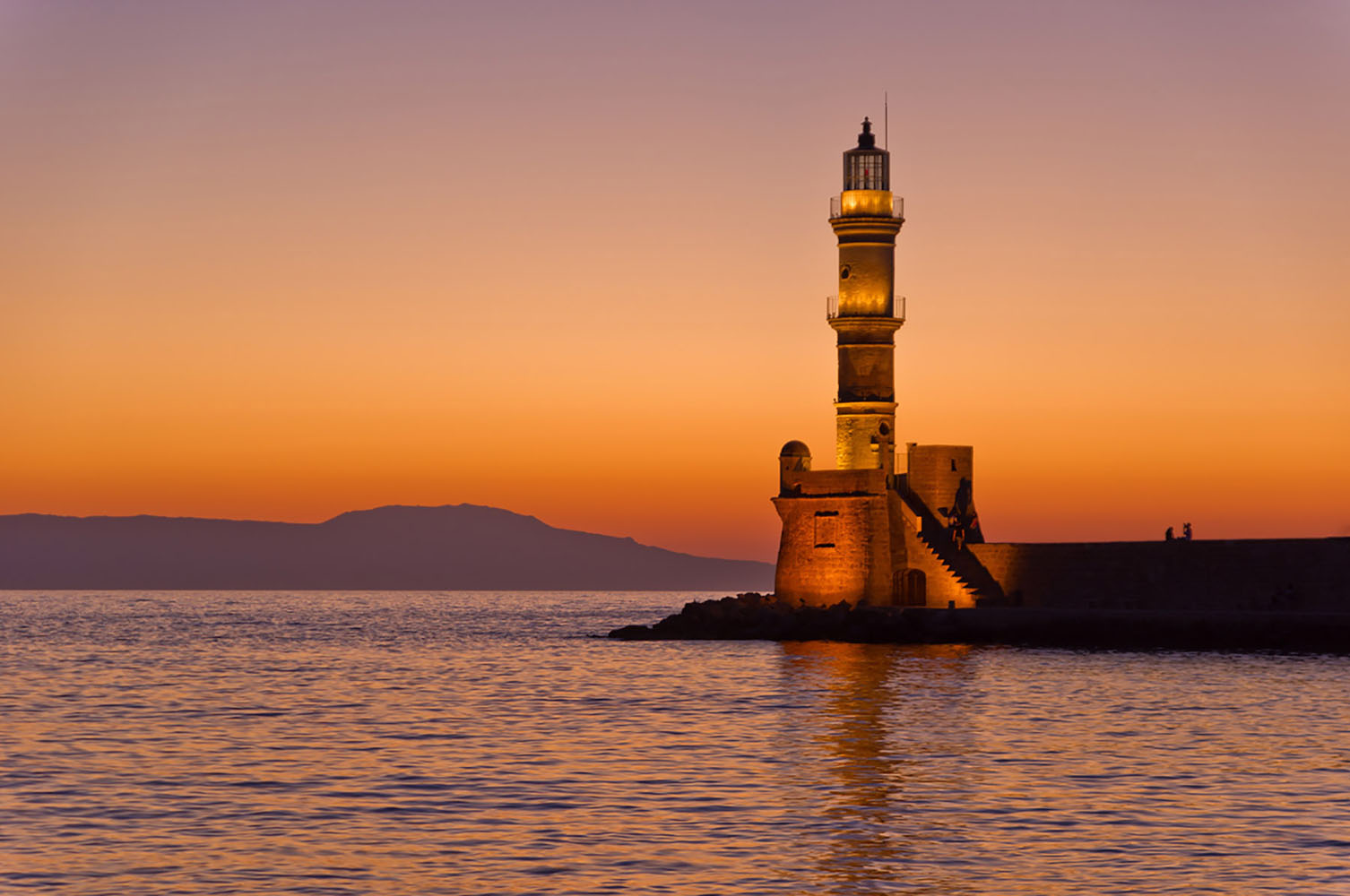 Sunset in Chania, Crete.