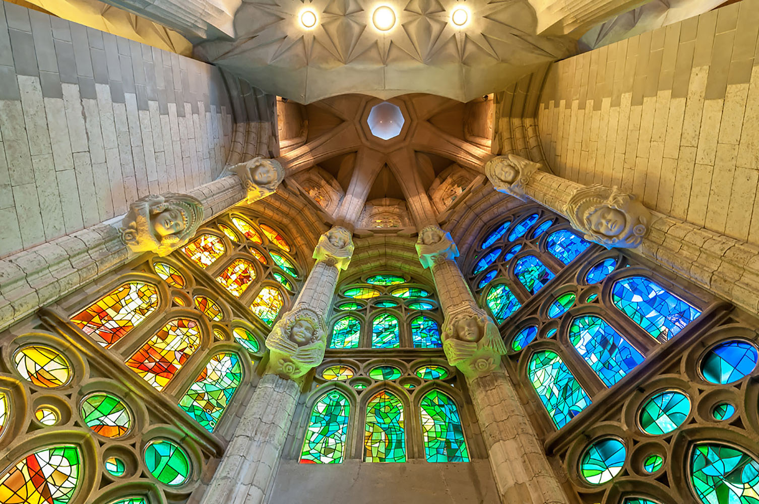 The colorful stained-glass windows of Sagrada Familia