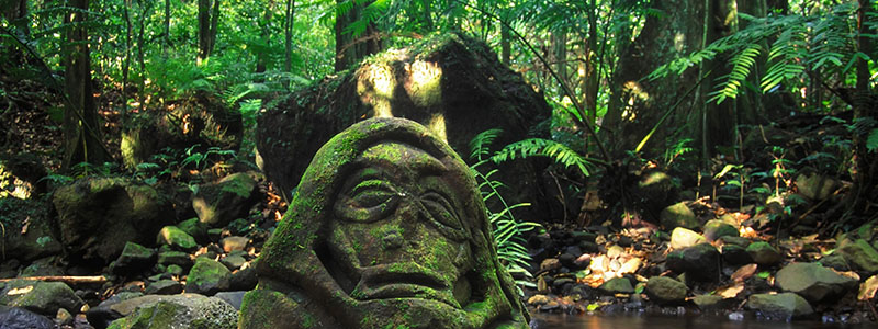 Stone head carving in Moorea, French Polynesia