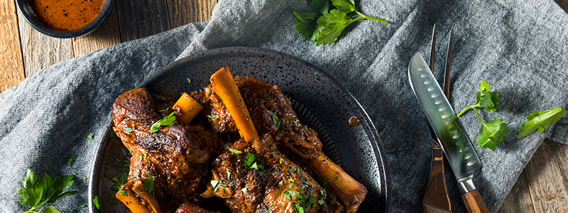 Braised lamb shanks, common local cuisine from the Shetland Islands, Scotland