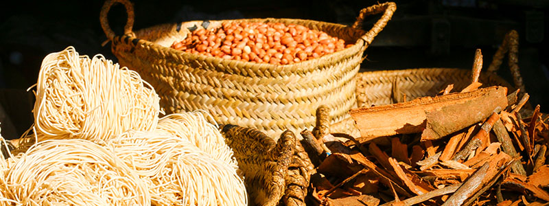 Baskets of beans and spices at the Darajani Bazaar in Stone Town, Zanzibar