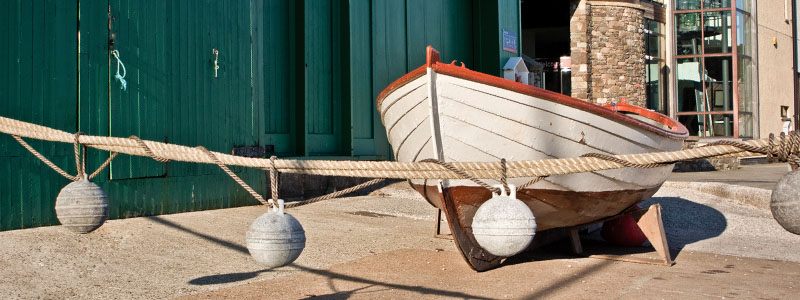 A canoe on display outside the Shetland Museum & Archives in Lerwick, Scotland