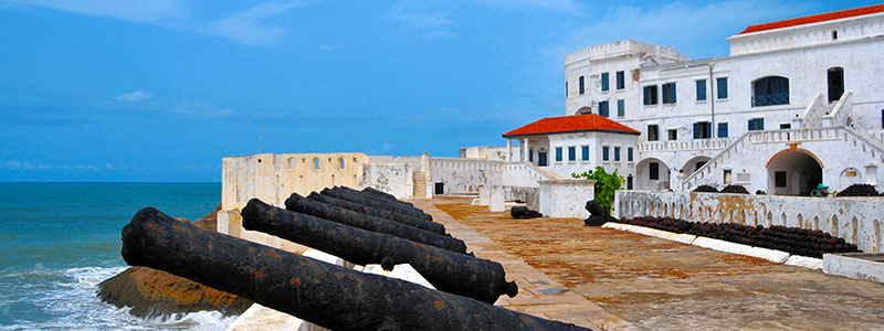 The canons guarding the perimeter of the Elmina Castle in Takoradi, Ghana