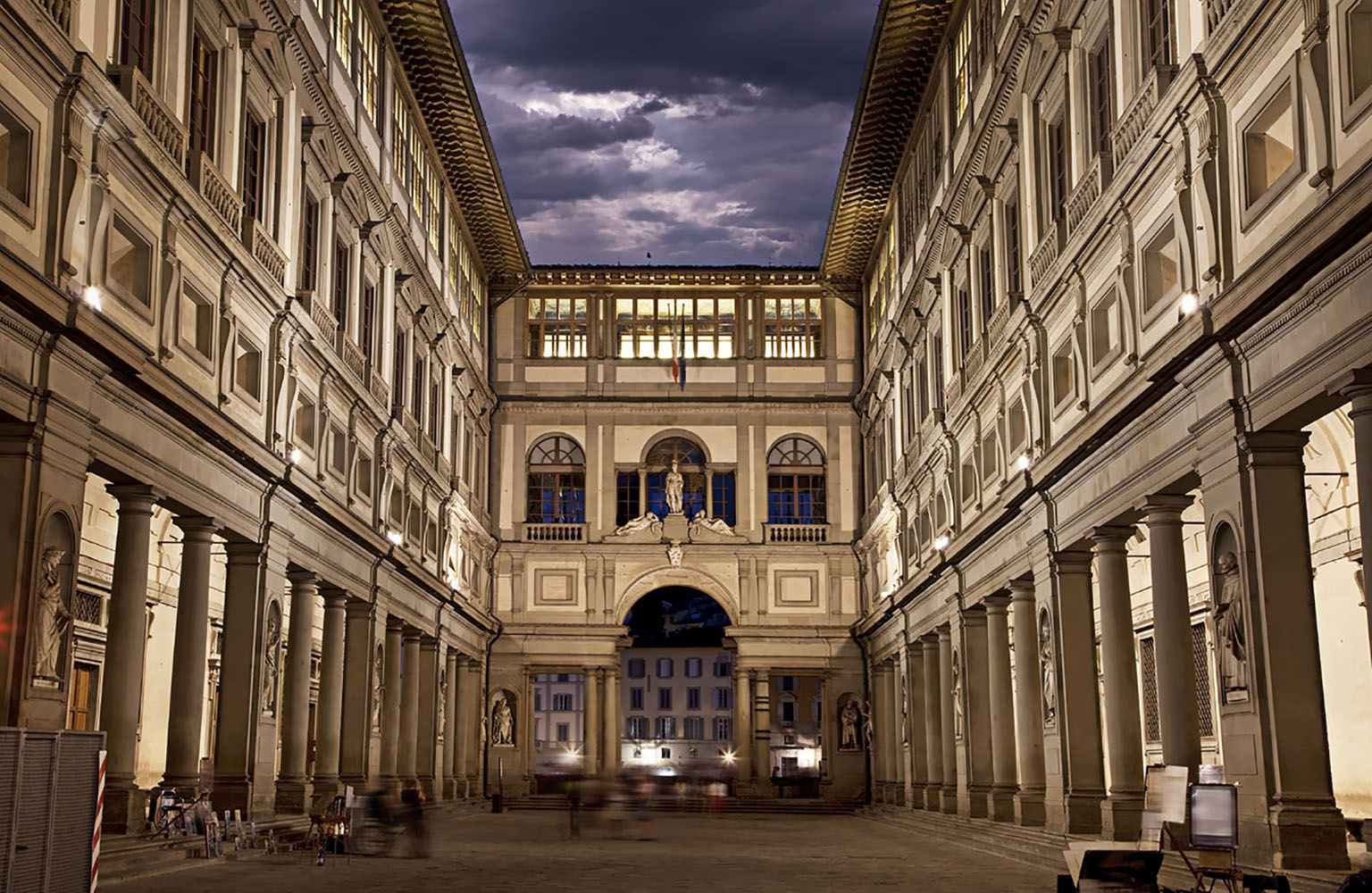 Florence's Uffizi Gallery at night.
