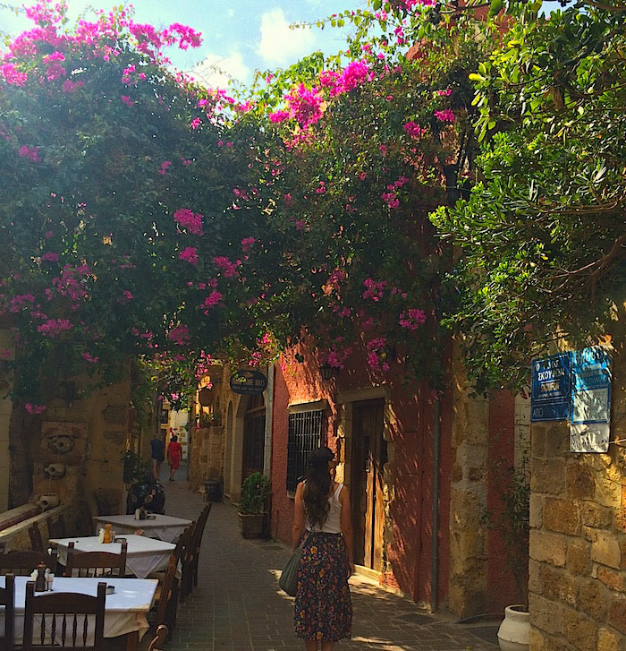 Cobblestoned streets and Restaurant patios in Chania, Crete