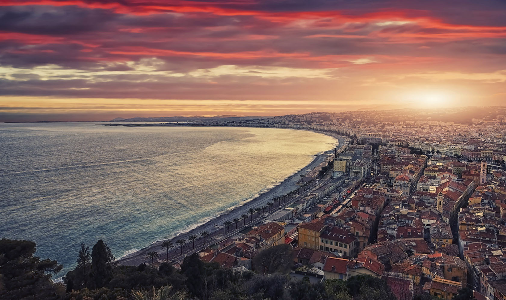 A sunset on the shores of Nice, France