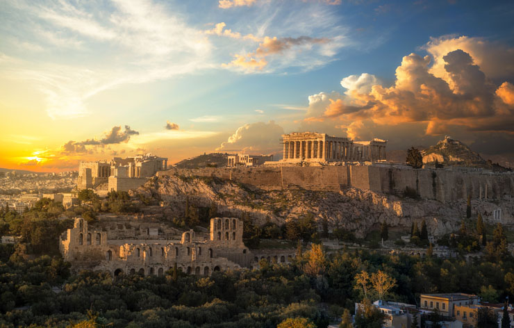 Acropolis of Athens at sunset with a beautiful dramatic sky